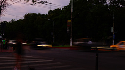 Traffic In Busy Intersection At Twilight,Bucharest, Romania,Time Lapse,Static Sh Footage