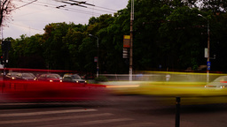 Traffic In Busy Intersection At Twilight,Bucharest, Romania,Time Lapse,Zoom In Footage