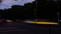 Traffic In Busy Intersection At Twilight,Bucharest, Romania,Time Lapse,Zoom Out Footage