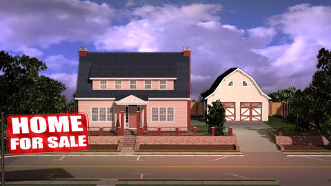 Property Developer Promo House for Sale Flag Motion Footage