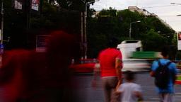 BUCHAREST, ROMANIA - JULY 2015 - Crowded Intersection,Sunday Eveninig Rush Time stock footage