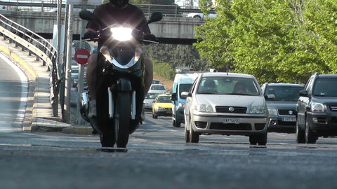 cars and motorcycle in road avenue highway Footage