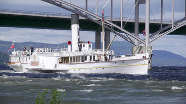 World Oldest Paddler Steamboat In Service Passing Minnesund Bridges Norway Slow  stock footage