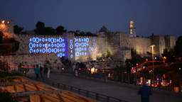 Rings of a lightshow on the Walls of Jerusalem at blue hour, timelapse Footage