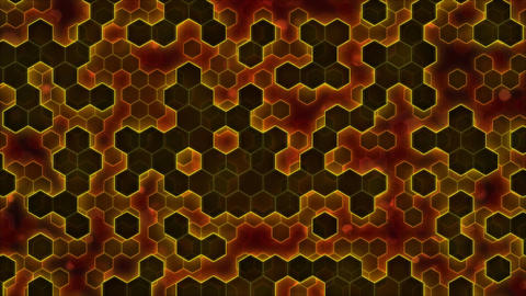Scrolling Hexagon Background Animation - Loop Orange Animation