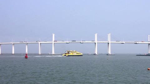 Jetfoil sailing under the Friendship bridge, departing from Macau to Hong Kong Footage