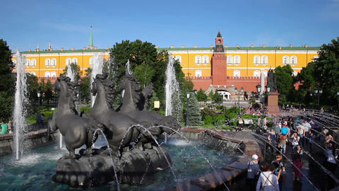 "MOSCOW, RUSSIA - JULY 15, 2015: Fountain ""Four Seasons"" on Manezh Square on July Footage"