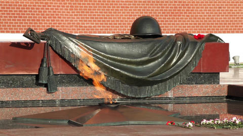 Eternal flame in memory of victims in the world war, Kremlin Moscow, Russia Footage