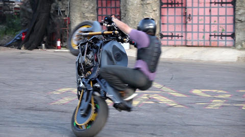 Moto bike tricks, bikers perfomance in Moscow, Russia Footage
