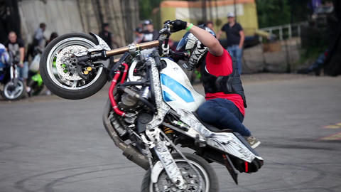 Moto Bike Tricks, Bikers Perfomance In Moscow, Russia stock footage