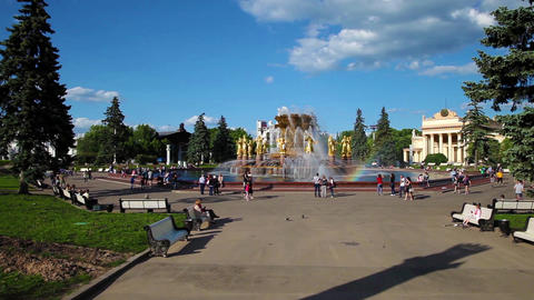 Friendship of Nations Fountain in park of VDNH in Moscow, Russia Live Action