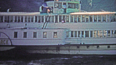 COLOGNE, GERMANY - 1966: The bismark boat cruising up and down the Rhein River f Footage
