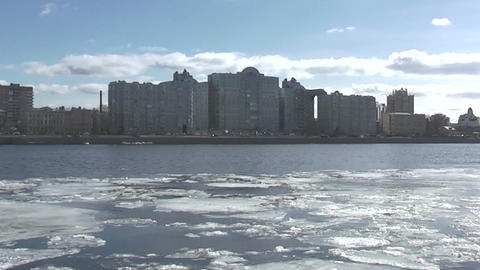 Ice Drifts On Neva River stock footage