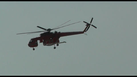 Fire (firefighting) Helicopter And Chinook With Water Bucket (2 Footage In 1) stock footage