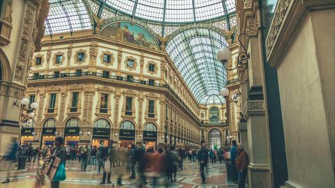 Galleria Vittorio Emanuele II in Milan, Italy Footage