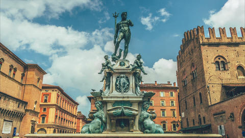 Bologna - The Statue Of The God Neptune stock footage