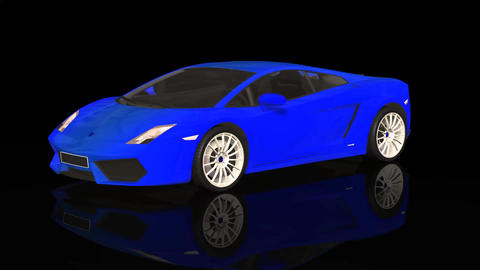 Luxury Sport Car Lamborghini Blue Color Moving Rotation Animation