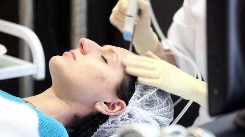 RUSSIA, MOSCOW - APRIL 18, 2015: Woman Having Cosmetic Procedures In Beauty Salo stock footage