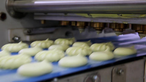 Automatic Bakery Line, Close Up Of Producing Cakes In Bakery Industry stock footage