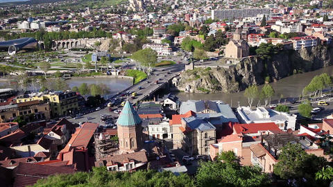 View from Narikala fort on Tbilisi cityscape, Georgia Footage