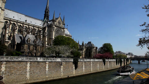 The Seine and Notre Dame Stock Video Footage