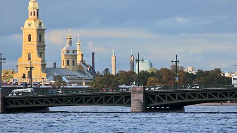 Palace Bridge and urban transport Stock Video Footage