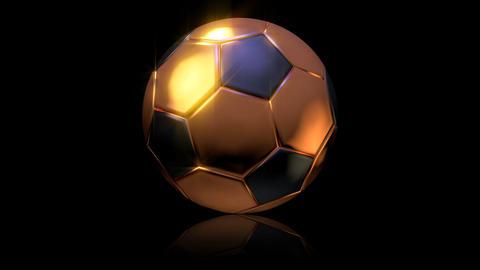 3D gold football turn around 01 Stock Video Footage