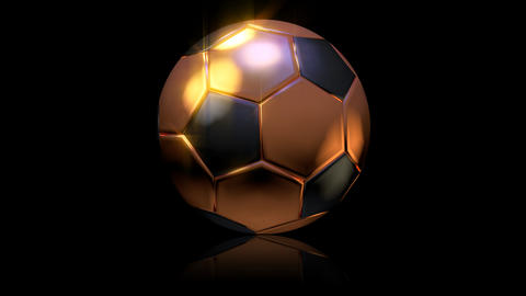 3D gold football turn around 01 Stock Video Footage