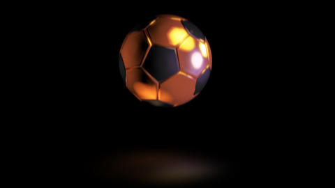 3D gold football bounce 06 Stock Video Footage
