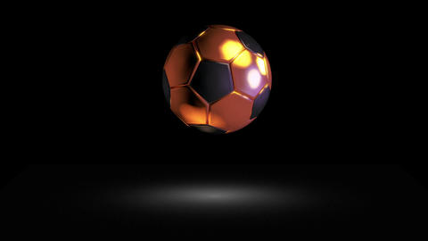 3D gold football bounce 02 Stock Video Footage
