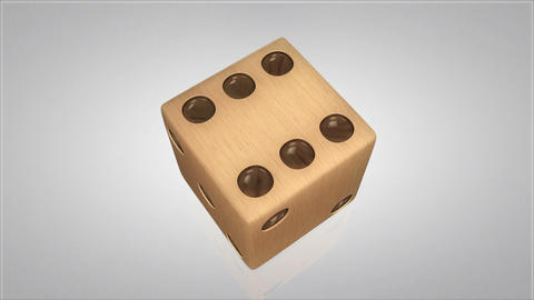 3D wood dice turn around 03 Stock Video Footage
