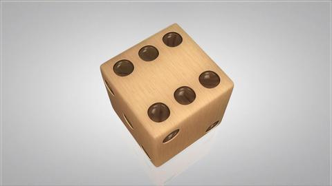 3D wood dice turn around 03 Animation