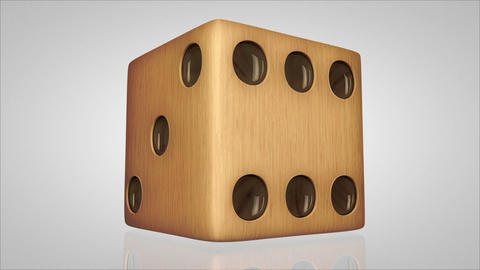 3D wood dice turn around 01 Stock Video Footage