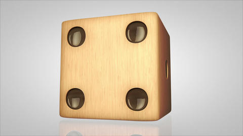 3D wood dice turn around 01 Animation