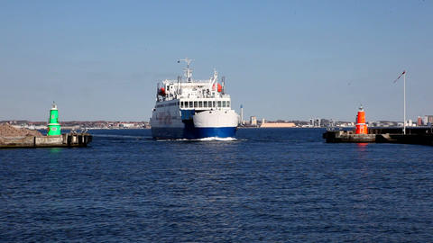 Ferry near the harbour Stock Video Footage