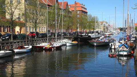 Canal tour in Copenhagen Stock Video Footage