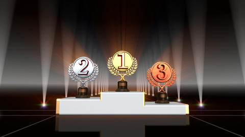 Podium Prize Trophy Cc4 HD Stock Video Footage
