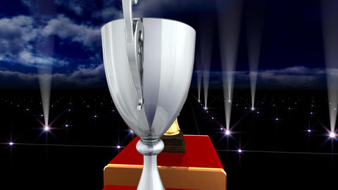 Podium Prize Trophy Cup Ea5Sky HD Stock Video Footage