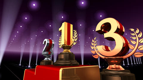 Podium Prize Trophy Ea3 HD Stock Video Footage