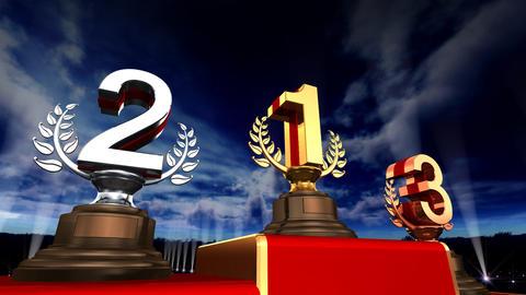 Podium Prize Trophy Ea5sky HD Stock Video Footage