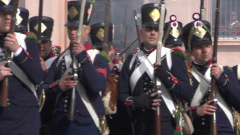 fighting french foot gunner 03 Stock Video Footage