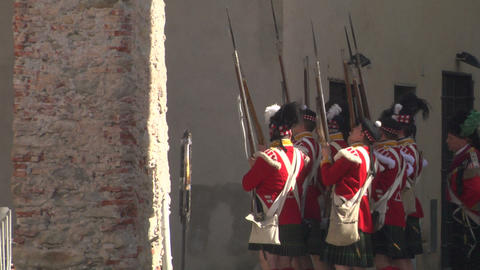 fighting scottish french soldier 01 Stock Video Footage