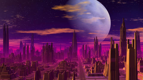 Blue planet over the fantastic city Animation