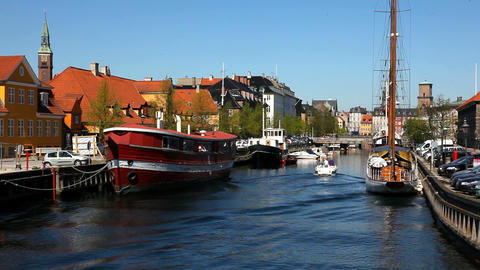 Sailing around Slotsholmen Stock Video Footage