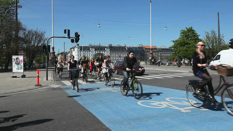 Bicycles in Copenhagen Stock Video Footage