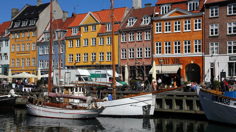 Nyhavn district Stock Video Footage