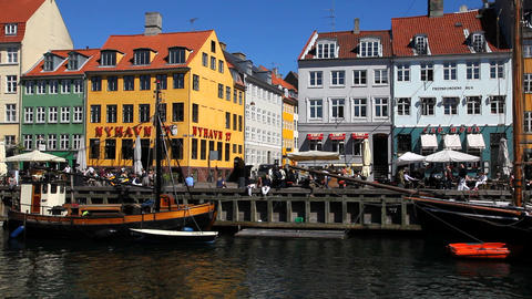 Nyhavn Houses in Copenhagen Stock Video Footage