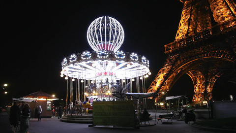 Amusement under the eiffeltower Stock Video Footage