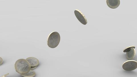 Euro coins rain 04 Stock Video Footage