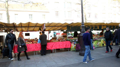 Visiting a french market Stock Video Footage